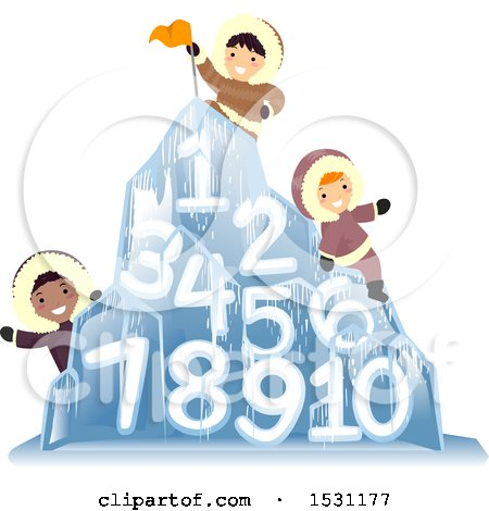 Clipart of a Group of Eskimo Children on an Ice Mountain with Numbers - Royalty Free Vector Illustration by BNP Design Studio