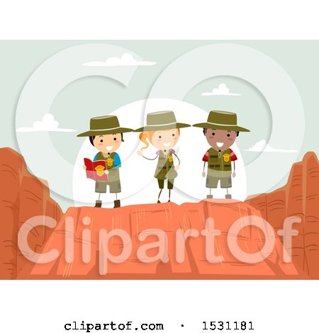 Clipart of a Group of Children Exploring a Canyon - Royalty Free Vector Illustration by BNP Design Studio