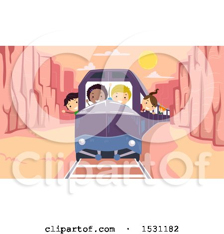 Clipart of a Group of Children Riding a Train Through a Canyon - Royalty Free Vector Illustration by BNP Design Studio