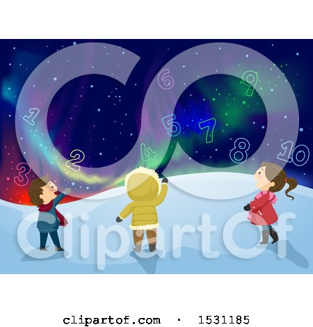 Clipart of a Group of Children Looking at Numbers in a Night Sky with Northern Lights - Royalty Free Vector Illustration by BNP Design Studio