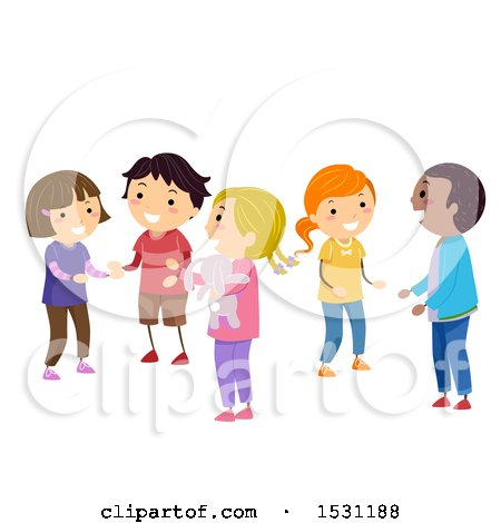 Clipart of a Group of Children Socializing in Class - Royalty Free Vector Illustration by BNP Design Studio