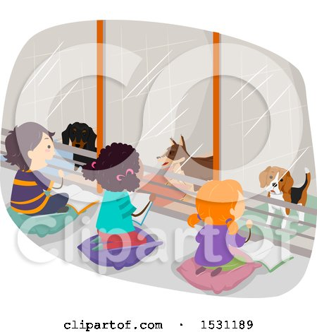Clipart of a Group of Children Reading Books to Dogs in a Shelter - Royalty Free Vector Illustration by BNP Design Studio