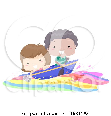 Clipart of a Boy and Girl Riding a Colorful Wave with a Boat - Royalty Free Vector Illustration by BNP Design Studio