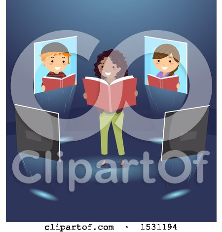 Clipart of a Group of Children on Screens Around a Teacher Reading a Book - Royalty Free Vector Illustration by BNP Design Studio