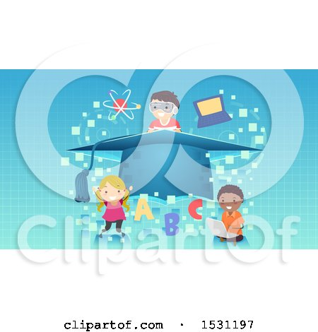 Clipart of a Group of School Children Around a Graduation Cap with School Icons over Pixels - Royalty Free Vector Illustration by BNP Design Studio