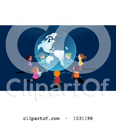 Clipart of a Group of School Children Learning and Sitting Around a Globe Hologram - Royalty Free Vector Illustration by BNP Design Studio