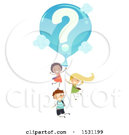 Clipart of a Group of Children Floating with a Question Mark Balloon - Royalty Free Vector Illustration by BNP Design Studio