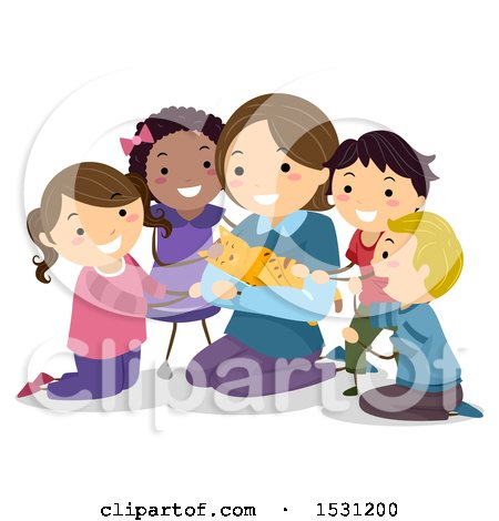 Clipart of a Group of Children Surrounding a Woman Holding a Cat - Royalty Free Vector Illustration by BNP Design Studio