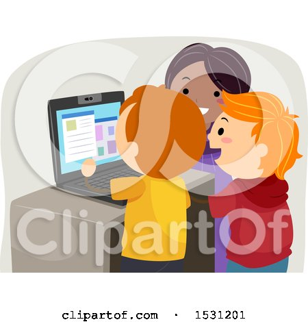 Clipart of a Group of Children Using a Laptop Computer - Royalty Free Vector Illustration by BNP Design Studio