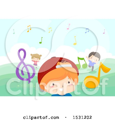 Clipart of a Group of Children Playing with Music Notes Outdoors - Royalty Free Vector Illustration by BNP Design Studio