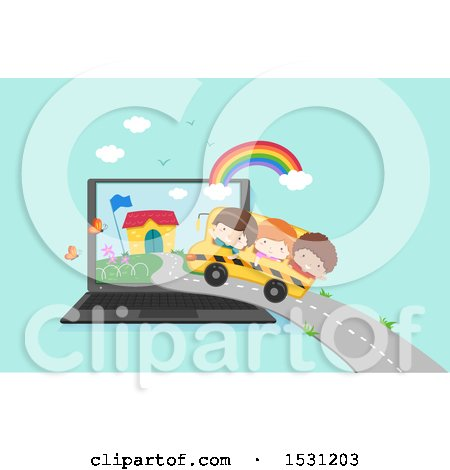 Clipart of a Group of Children Riding a Bus to School in a Laptop Screen - Royalty Free Vector Illustration by BNP Design Studio