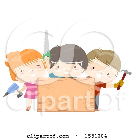 Group of Children Holding a Screwdriver, Hammer and Saw Around a Blank Wood Sign Posters, Art Prints