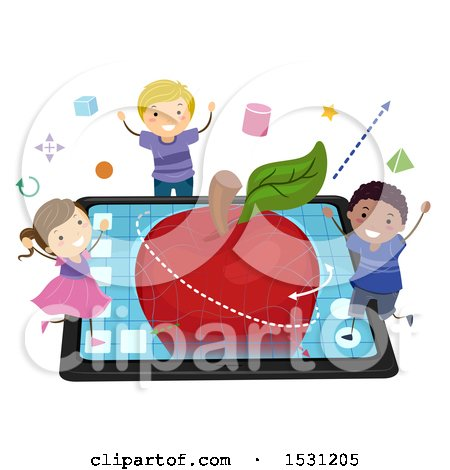 Clipart of a Group of Children Modeling a 3d Apple on a Tablet - Royalty Free Vector Illustration by BNP Design Studio