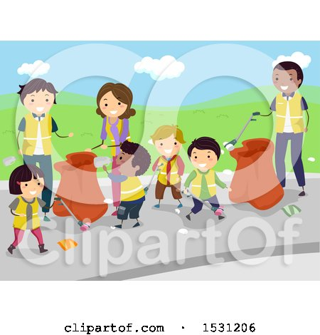 Clipart Of A Group Of Adults And Children Volunteering To Clean Up