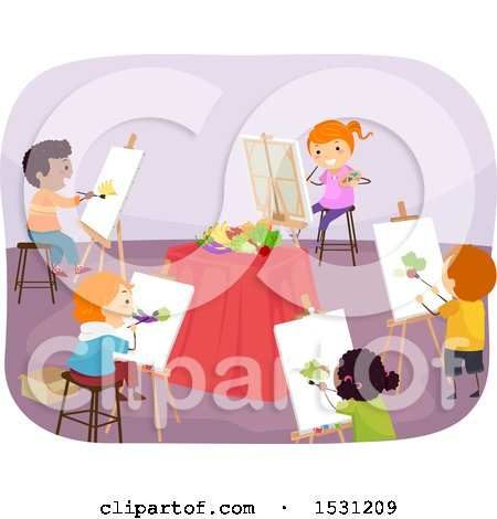 Clipart of a Group of Children Painting a Still Life in Art Class - Royalty Free Vector Illustration by BNP Design Studio