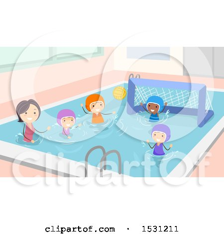 Clipart of a Coach Teaching Kids How to Play Water Polo - Royalty Free Vector Illustration by BNP Design Studio