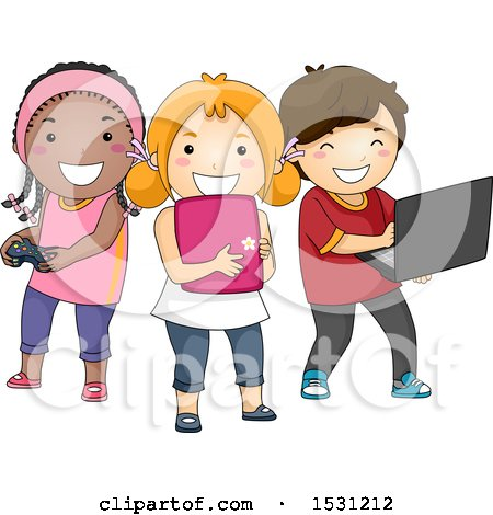 Clipart of a Group of Children Using a Video Game Controller, Tablet and Laptop - Royalty Free Vector Illustration by BNP Design Studio