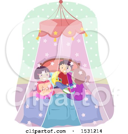 Clipart of a Group of Children Talking in a Bed with a Canopy - Royalty Free Vector Illustration by BNP Design Studio