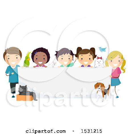 Clipart of a Group of Children with Pets Around a Blank Banner Sign - Royalty Free Vector Illustration by BNP Design Studio