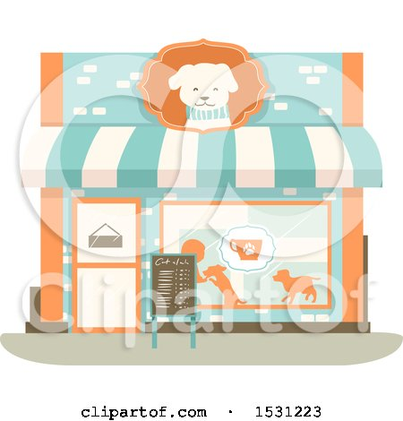 Clipart of a Dog Cafe Storefront - Royalty Free Vector Illustration by BNP Design Studio