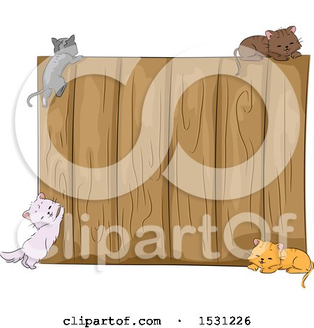 Clipart of a Wooden Fence with Kitty Cats - Royalty Free Vector Illustration by BNP Design Studio