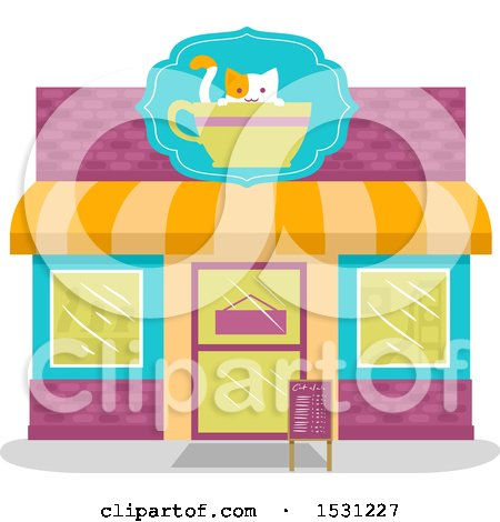Clipart of a Cat Cafe Store Front - Royalty Free Vector Illustration by BNP Design Studio