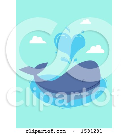 Clipart of a Whale Spouting a Heart - Royalty Free Vector Illustration by BNP Design Studio