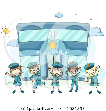 Clipart of a Sketched Group of Children in Uniform, Cheering in Front of a Police Station - Royalty Free Vector Illustration by BNP Design Studio