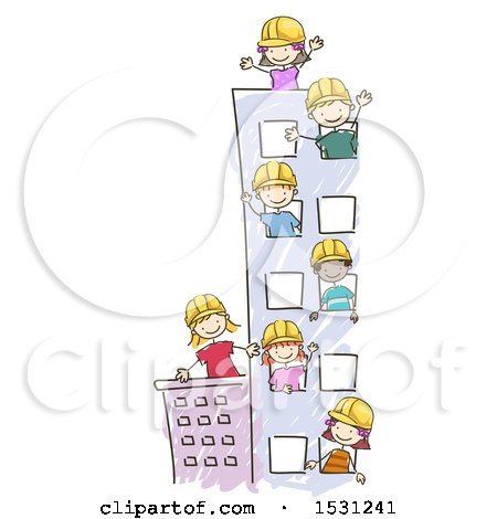 Clipart of a Sketched Group of Children Wearing Hard Hats in a Tall Building - Royalty Free Vector Illustration by BNP Design Studio