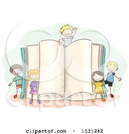 Clipart of a Sketched Group of Children Around a Giant Open Book - Royalty Free Vector Illustration by BNP Design Studio