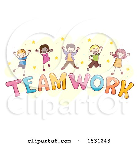 Clipart of a Sketched Group of Children Jumping over the Word Teamwork - Royalty Free Vector Illustration by BNP Design Studio