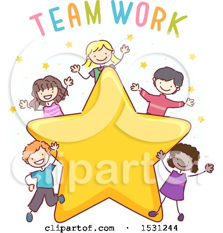 Clipart of a Sketched Group of Children with the Word Teamwork over a Star - Royalty Free Vector Illustration by BNP Design Studio