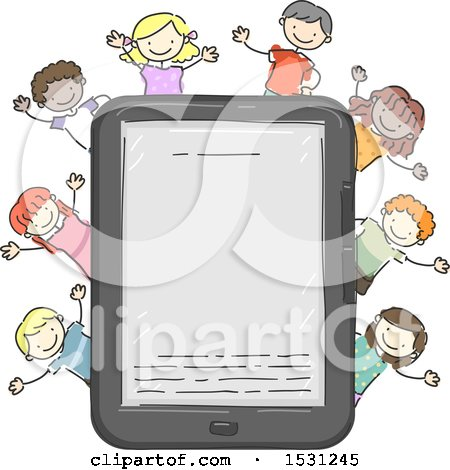 Clipart of a Sketched Group of Children Cheering Around a Tablet or E Reader - Royalty Free Vector Illustration by BNP Design Studio