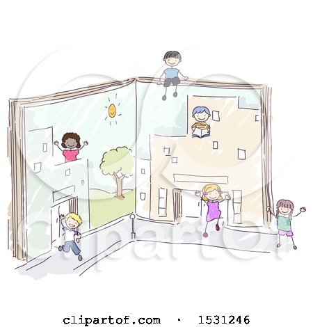 Sketched Group of Children Playing in Book Buildings Posters, Art Prints