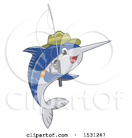 Clipart of a Sailfish Wearing a Hat and Holding a Fishing Pole - Royalty Free Vector Illustration by BNP Design Studio
