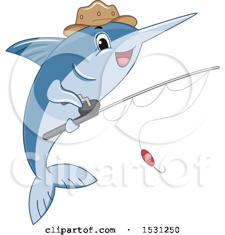 Clipart of a Marlin Fish Mascot Wearing a Hat and Holding a Fishing Pole - Royalty Free Vector Illustration by BNP Design Studio