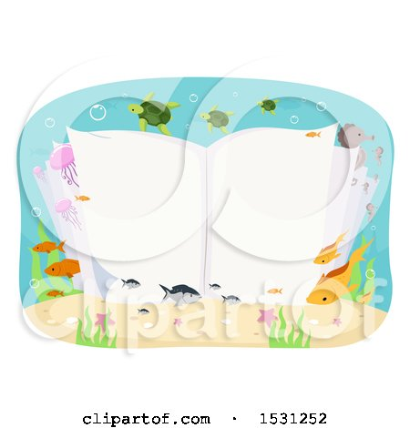 Clipart of an Open Book Underwater, Surrounded by Sea Life - Royalty Free Vector Illustration by BNP Design Studio