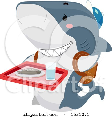 Clipart of a Shark Student Carrying a Cafeteria Tray - Royalty Free Vector Illustration by BNP Design Studio