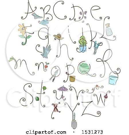 Clipart of a Gardening Alphabet - Royalty Free Vector Illustration by BNP Design Studio
