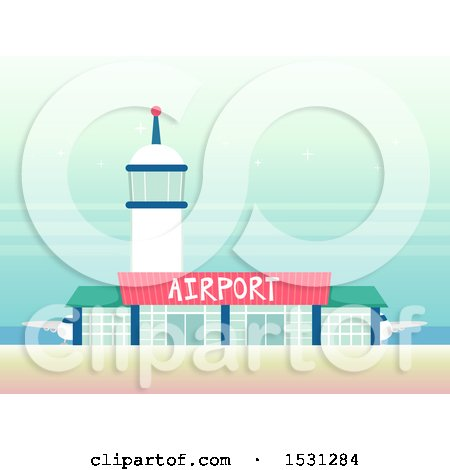 Clipart of a Tower over an Airport - Royalty Free Vector Illustration by BNP Design Studio