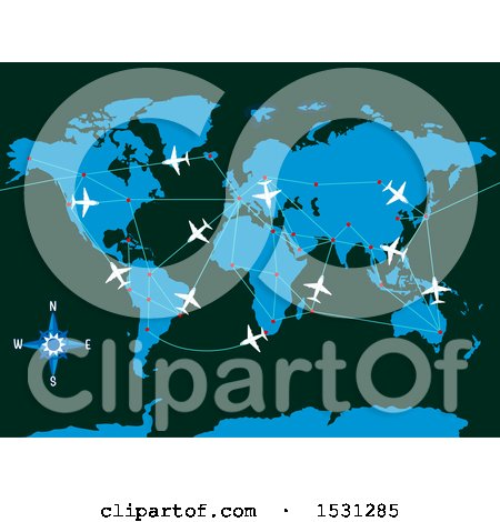 Clipart of a World Map with Planes and Flight Paths - Royalty Free Vector Illustration by BNP Design Studio