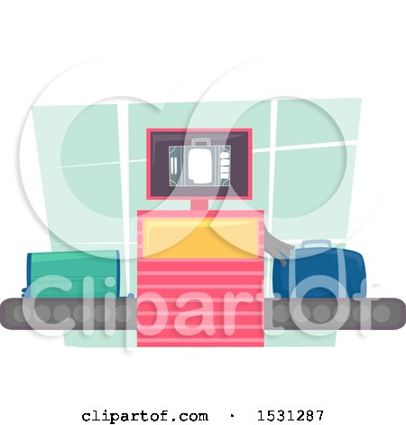 Clipart of an Xray Machine Scanning Luggage at an Airport - Royalty Free Vector Illustration by BNP Design Studio
