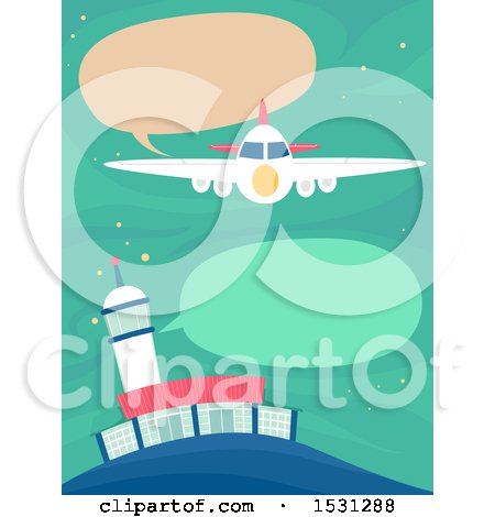 Clipart of a Plane Communicationg to a Tower - Royalty Free Vector Illustration by BNP Design Studio