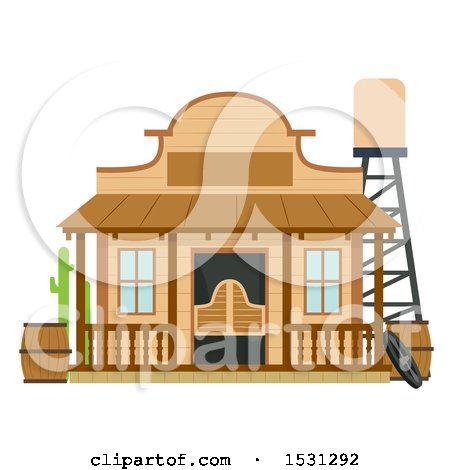 Clipart of a Wild West Saloon Building Facade - Royalty Free Vector Illustration by BNP Design Studio