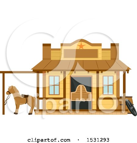 Clipart of a Wild West Sheriffs Office Building Facade - Royalty Free Vector Illustration by BNP Design Studio