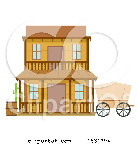 Clipart of a Wild West Hotel Building Facade - Royalty Free Vector Illustration by BNP Design Studio