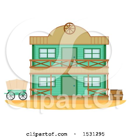 Clipart of a Wild West Bank Building Facade - Royalty Free Vector Illustration by BNP Design Studio