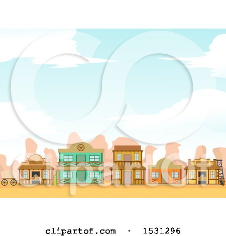 Clipart of a Wild West Ghost Town with Storefronts - Royalty Free Vector Illustration by BNP Design Studio