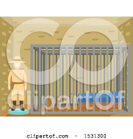 Clipart of a Wild West Mannequin Sheriff by a Jail Cell - Royalty Free Vector Illustration by BNP Design Studio