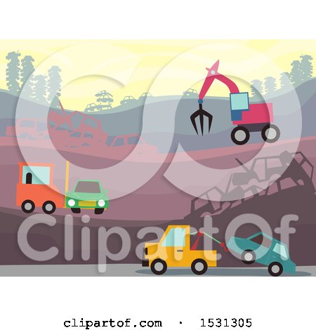 Clipart of a Busy Wrecking Yard with Heavy Machinery - Royalty Free Vector Illustration by BNP Design Studio